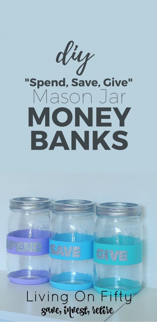 Don't spend a fortune on spend, save, give piggy banks to teach your kids about money,.  Instead, make your own dave ramsey piggy banks with mason jars!